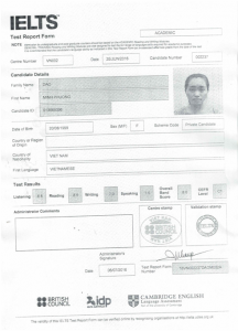 Chúc mừng bạn Đào Minh Phương đạt IELTS 8.0