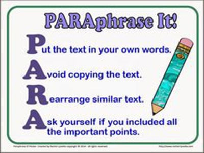 UNIT 3 : WRITING TASK 1 - CLEARLY PARAPHRASE THE RUBIC